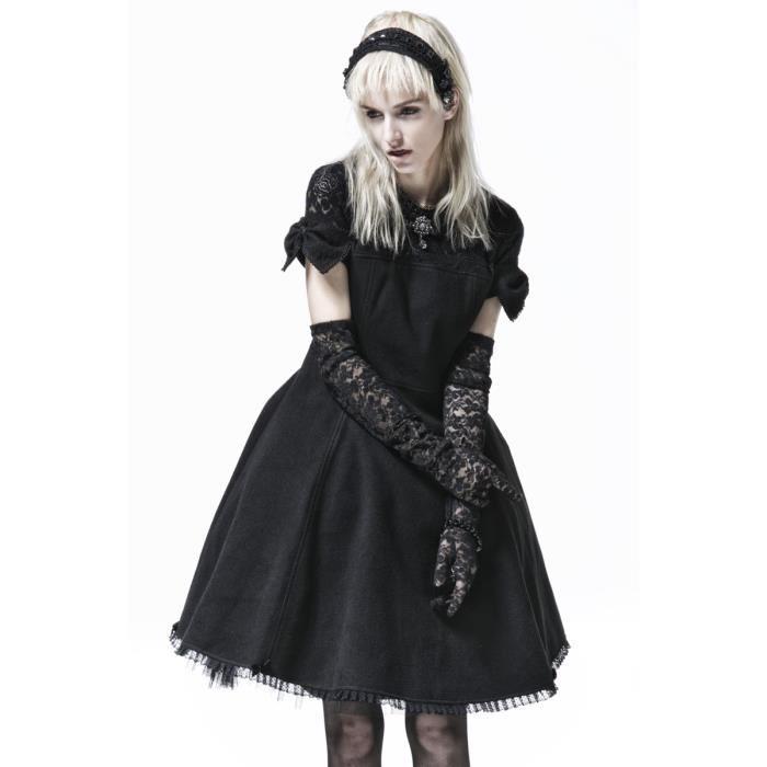 robe-noire-avec-noeuds-et-haut-en-dentelle-elegan